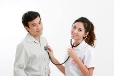 Free Portrait Of Young Couple Physician And Engineer Stock Image - 20859881