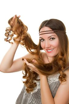 Free Russian Girl Advertises Long Curly Hair Royalty Free Stock Images - 20859949