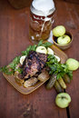 Free Roasted Pork Knuckle With Beer And Mustard Royalty Free Stock Images - 20864369