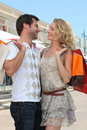 Free Couple With Shopping Bags Stock Photography - 20866962