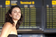Free Attractive Woman Waiting At The Airport Royalty Free Stock Photos - 20860558