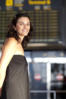 Free Attractive Woman Waiting At The Airport Stock Photos - 20860593