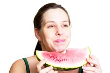 Free Beautiful Young Woman Eat Juicy Watermelon Stock Images - 20860784