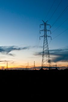 Free Electricity Poles In Twilight Time Stock Photography - 20861192