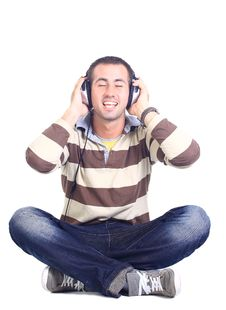 Free Man In Blue Shirt With Earphones Stock Photo - 20861230