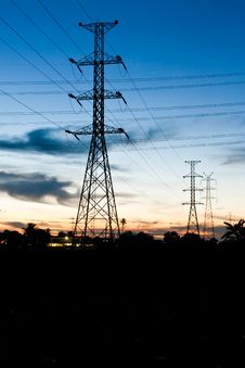 Free Electricity Poles In Twilight Time Royalty Free Stock Photography - 20861347