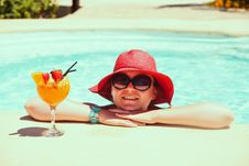Beautiful Woman With Cocktail Stock Photography