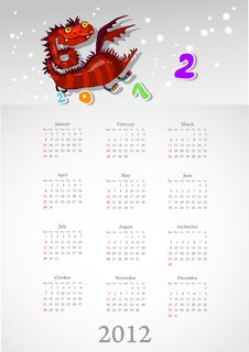 Free Calendar 2012 With A Red Dragon: On White Royalty Free Stock Images - 20862009