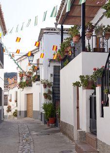 Side Street In Notaez Village Stock Photo