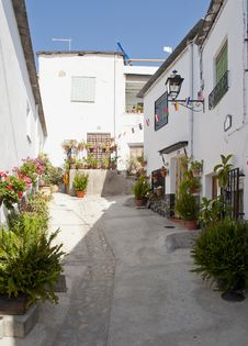 Side Street In Notaez Village Stock Photography