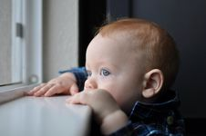 Child Boy Looking Out Window Stock Photo