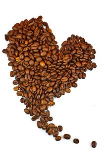 Coffee Beans In The Shape Of The Heart. Stock Images