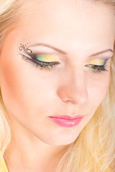 Young Beautiful Blonde Woman With Stylish Make-up Royalty Free Stock Photos