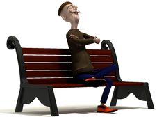 Free Teacher Enjoys Today Weather On Brown Bench Stock Image - 20863821