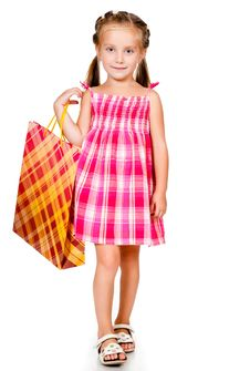 Free Little Girl With The Package Royalty Free Stock Photos - 20864908