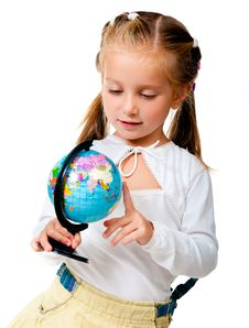 Free Girl With Globe Stock Photo - 20865070