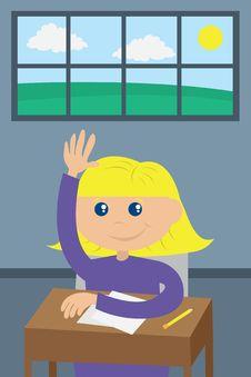 Free Student Raising Hand Stock Image - 20866111