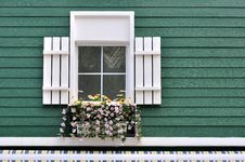 Decorated Window Of Green Architecture Stock Photography