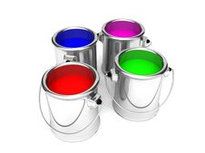 Free Paint Cans, Red,blue,green And Pink Stock Image - 20867031