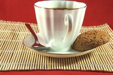Cup Of Coffee And Cookie Royalty Free Stock Photos