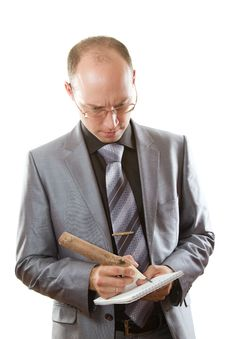 Business Man Writing In Pencil In A Notebook Stock Photos