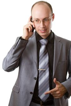 Free Business Man Talking On Mobile Phone Stock Photos - 20867483