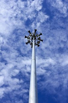 Free Spotlight Or Electricity Post With Loudspeaker Stock Image - 20867531