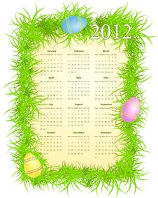 Free Vector Illustration Of Easter Calendar 2012 Stock Image - 20869211