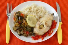 Free Boiled Fish With Rice And Vegetables Royalty Free Stock Image - 20869676