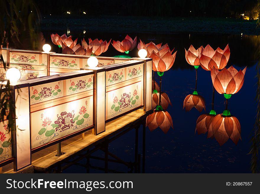 Lotus light in pond