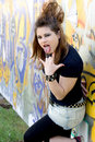 Free Punk Girl Standing Near Graffiti Royalty Free Stock Image - 20873776