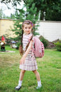 Free Young Girl With Pink Backpack Ready For School Stock Images - 20877084