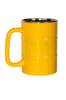 Free Yellow Metal Barrel Shaped Mug Royalty Free Stock Photo - 20870755