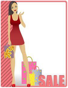 Girl In Striped Card Stock Image