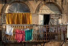 Clothes On The Balcony Royalty Free Stock Photo