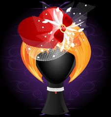 Free Lady S Wig In A Red Heart-shaped Hat Stock Photos - 20871143