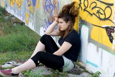 Free Punk Girl Sitting Near Graffiti Stock Photo - 20873790