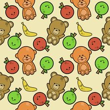 Cute Animals And Fruits Background Royalty Free Stock Photos