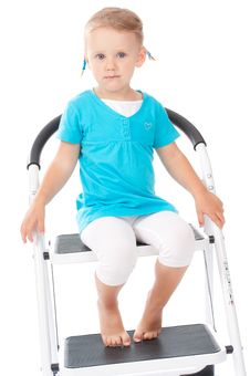 Free Child Portrait On The Chair In Studio Stock Images - 20875254