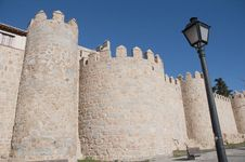 Defensive Walls Tower At Avila, Spain Royalty Free Stock Photography