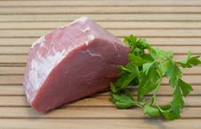 Piece Of Beef With Parsley Royalty Free Stock Photos