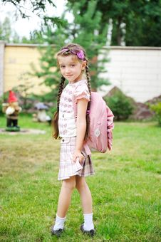 Free Young Girl With Pink Backpack Ready For School Stock Photos - 20876913