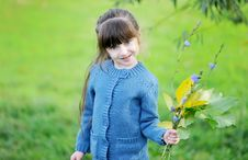 Free Adorable Child Girl Poses Outdoors With Leaves Stock Photo - 20877060