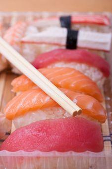 Free Fish Sushi Set With Sticks Royalty Free Stock Image - 20877786