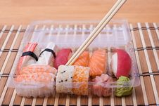 Free Fish Sushi Set With Sticks Stock Images - 20877804