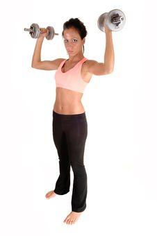 Free Girl Lifting Dumbbells. Stock Photography - 20879322