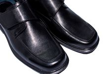 Men S Black Leather Shoes. Royalty Free Stock Photography