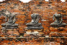 Free Buddha Statues Ruin In Ayutthaya Historical Park Stock Photography - 20879792