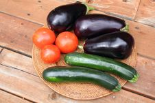 Free Eggplant, Tomatoes And Zucchini Stock Photography - 20879822