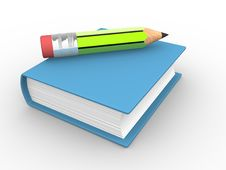 Pencil And Books Royalty Free Stock Photos